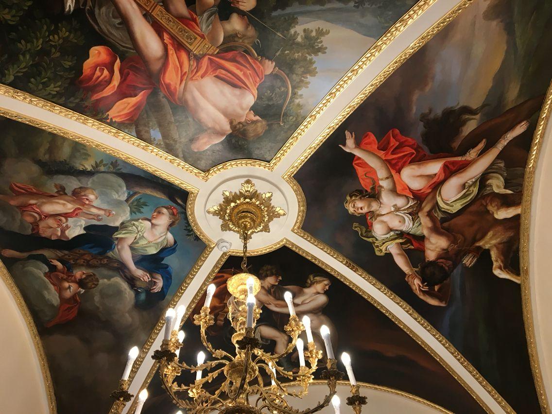 Ceiling In The Lobby Of Hotel Turner Rome Roma Italia Rome
