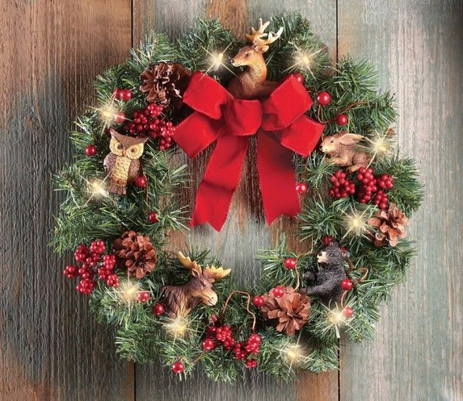 Lighted Northwoods Animal Door Wreath Decoration - Beautiful wreath - moose christmas decorations