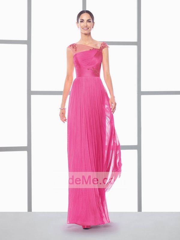 Floor length off shoulder fuchsia chiffon lace Prom Dresses SDND0054 ...