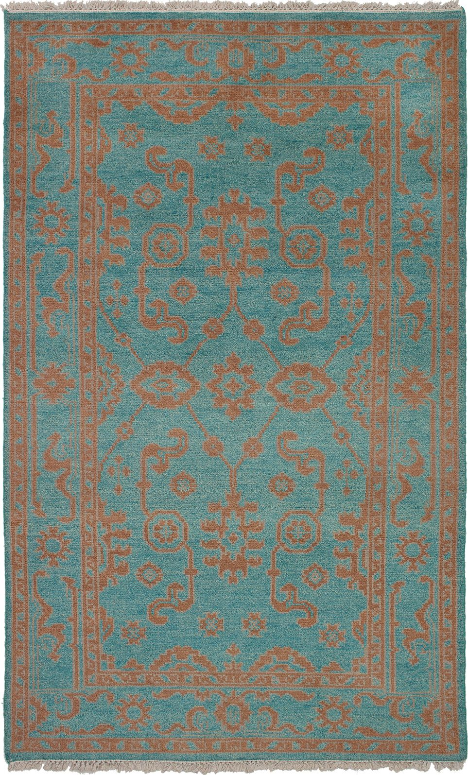 Maharajah turquoise wool rug hand knotted indian rug 410 x 710 indian rugs art home elevate your decor with a beautiful pop of ageless