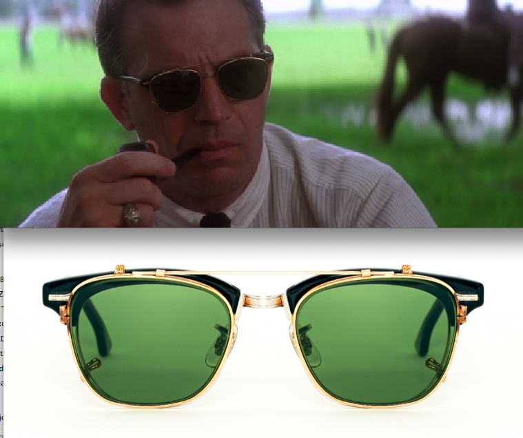 fea9996a2d0 Kevin Costner in J.F.K. with vintage Shuron Ronsir zyl   American Optical  Clip ons