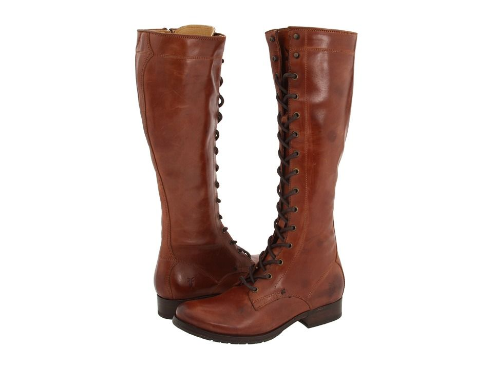 FRYE FRYE - MELISSA TALL LACE (BROWN LEATHER) WOMEN'S LACE-UP BOOTS.