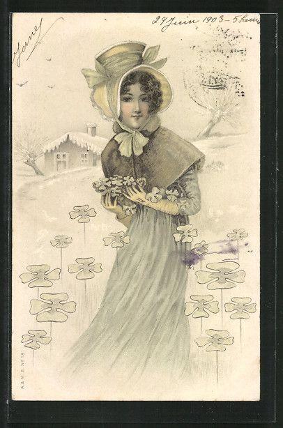 lithographie hübsches fräulein mit hut sammelt kleeblätter