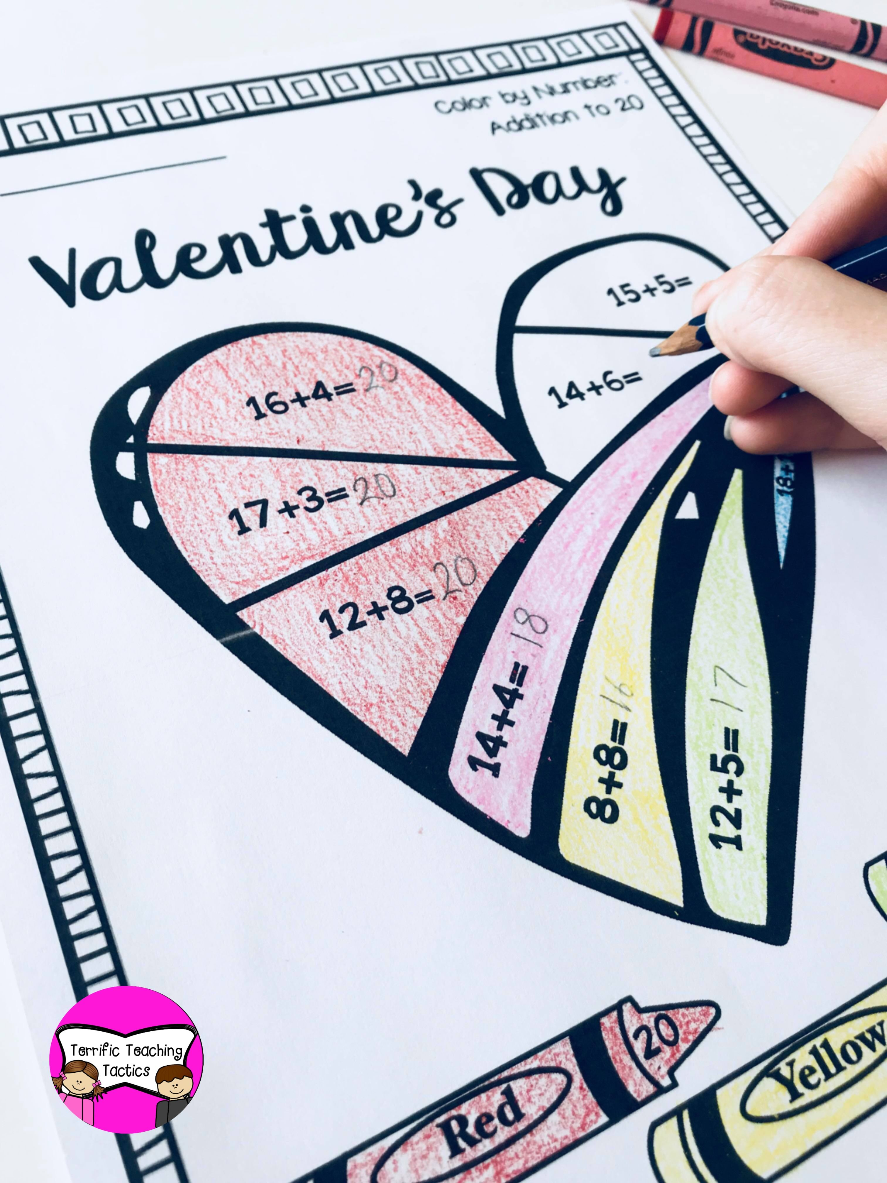 Valentine S Day Color By Addition