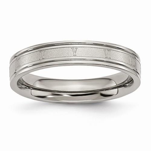 Chisel Ring Anium 4mm Brushed And Polished Roman Numerals Wedding Band