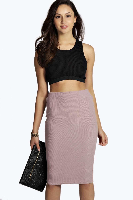 Rilee Ribbed Fabric Midi Skirt alternative image