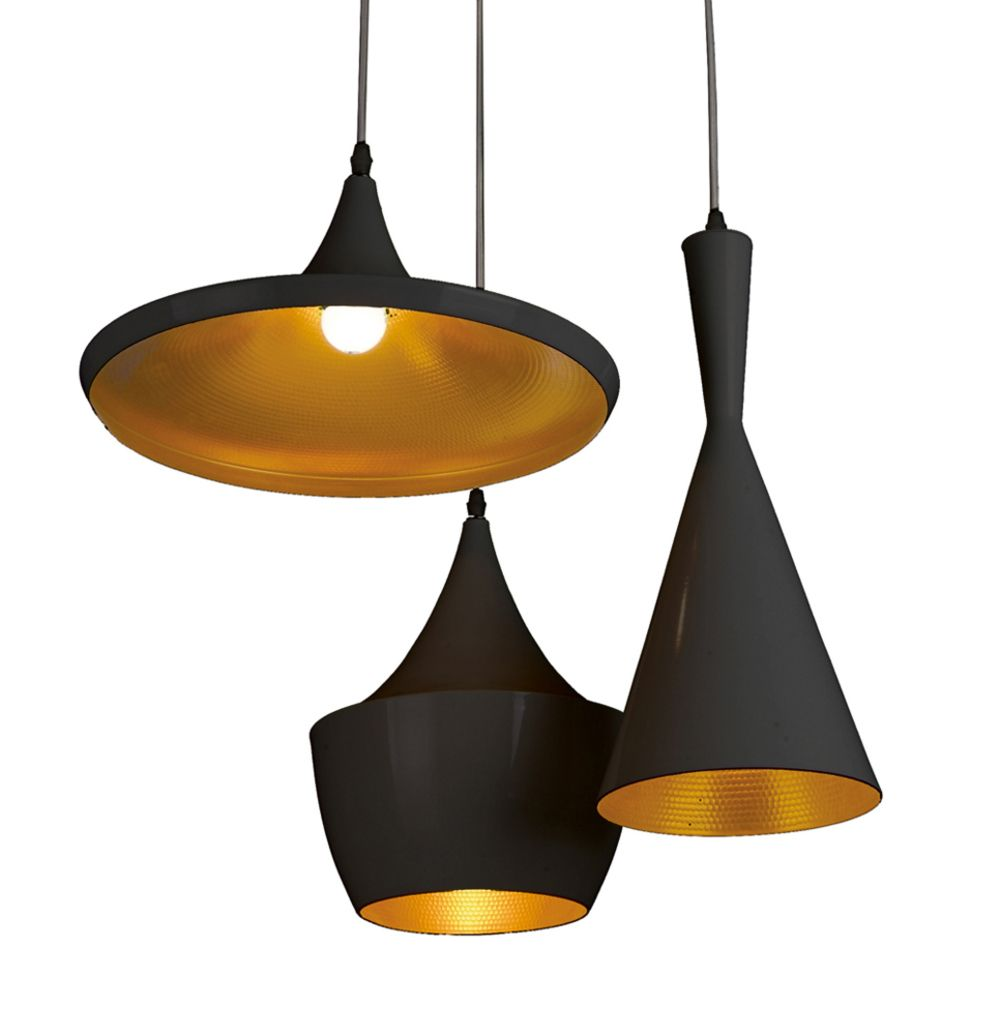 Triple Shade Pendant Black And Copper Dwell Dining