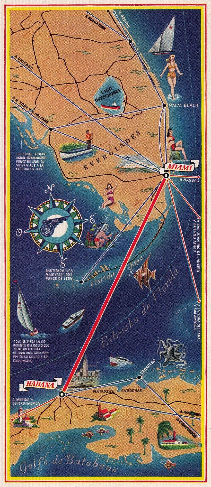 Havana Map Vertical Pan American Vintage Aviation Graphic Art On - Vintage aviation maps