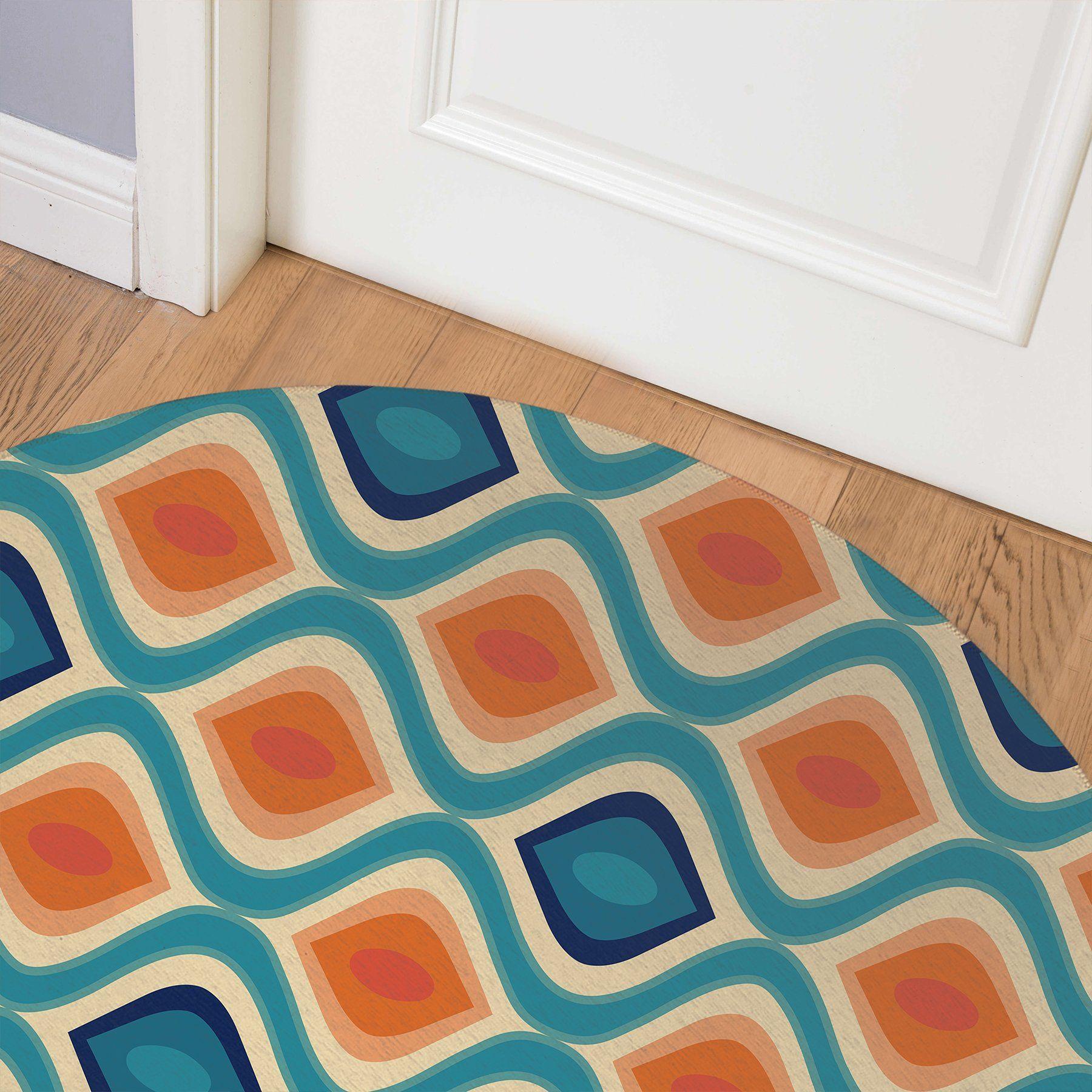 YE ORANGE AND BLUE Indoor Floor Mat By Terri Ellis – Round 5ft x 5ft
