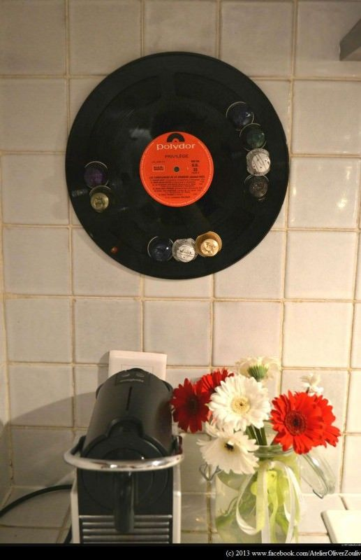 Recycled Vinyl Lp Record Into Display For Your Nespresso Coffee Caps Recyclart Recycling Nespresso Capsule Holder Record Display