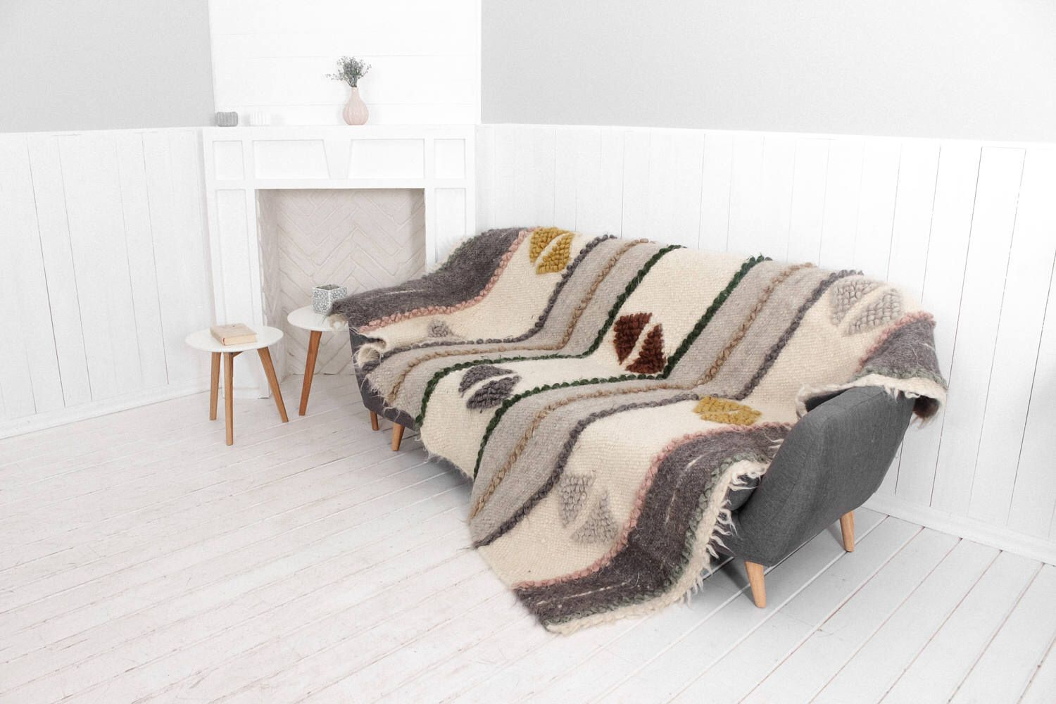 Weighted wool throw blanket, Sofa cover, Hand woven throw