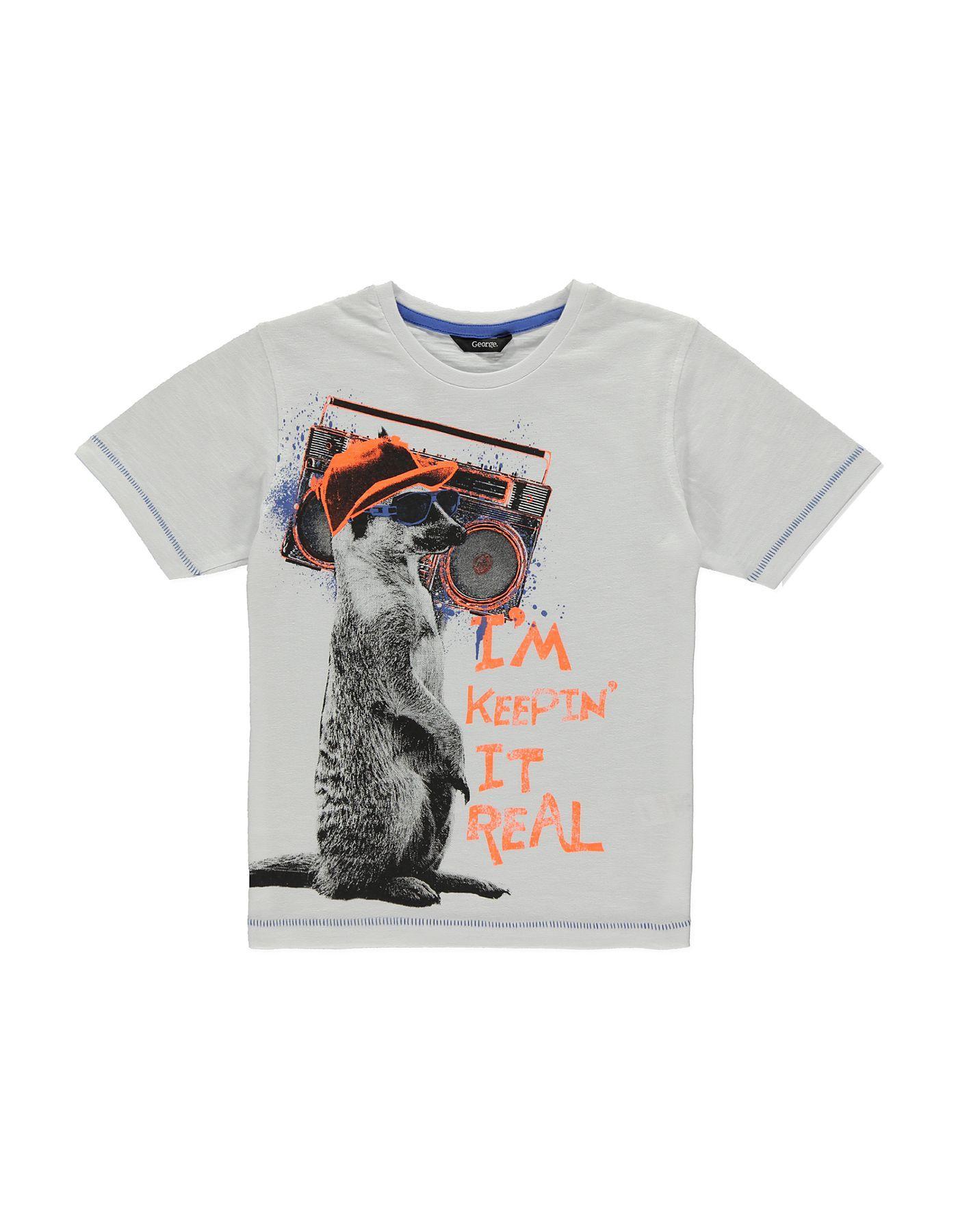 Black t shirt asda - Meerkat Print T Shirt Boys George At Asda
