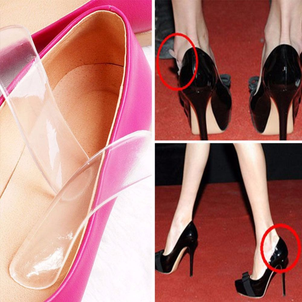 1 Pair Woman Thread Soft Insert Heel Liner Grips Silicone Insole High Heel Pads