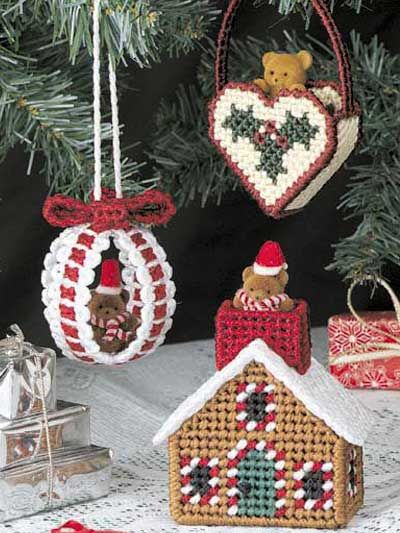 Plastic Canvas - Special Occasions - Christmas Ornaments - Teddy ...