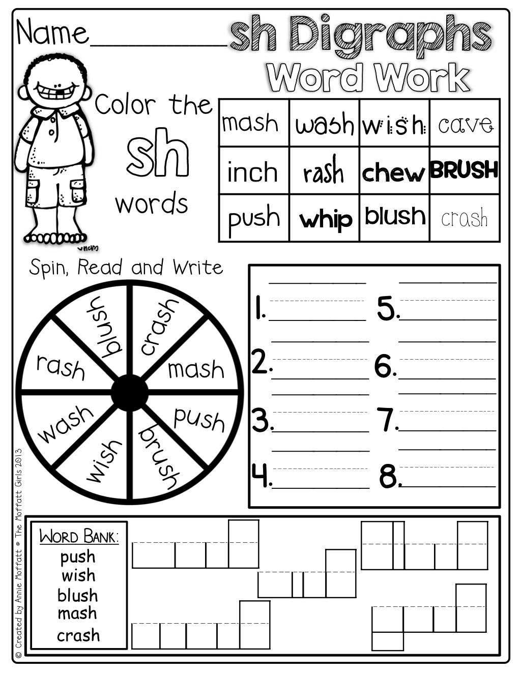 Interactive Digraph Word Work! Color the correct digraph