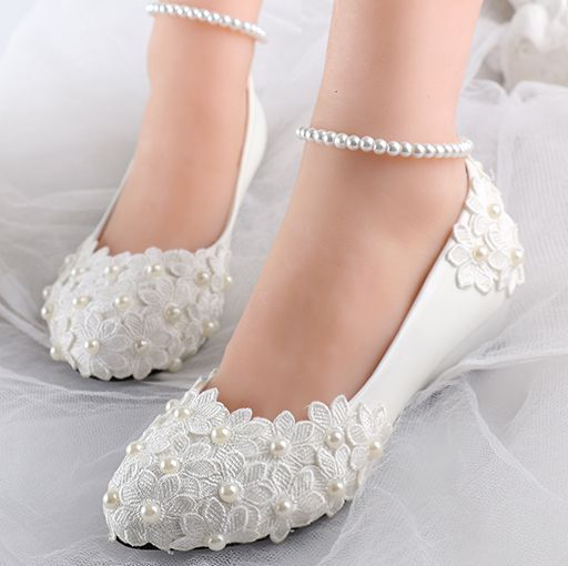 b203763b3d89 Low wedges heels womens summer spring wedding shoes ivory lace flower ankle  bracelet sexy bridal brides bridesmaid shoe XNA 257  Affiliate