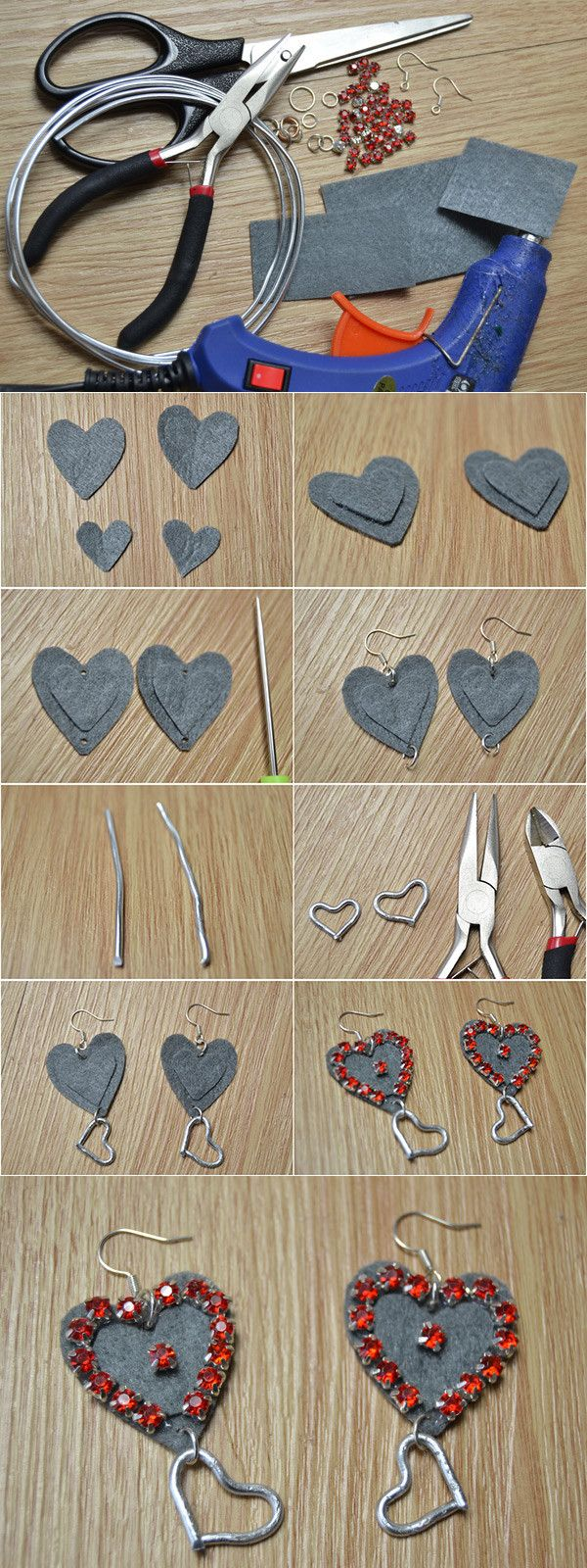 Make Your Own Cutest Felt Heart Dangling Earrings with Beads from LC.Pandahall.com
