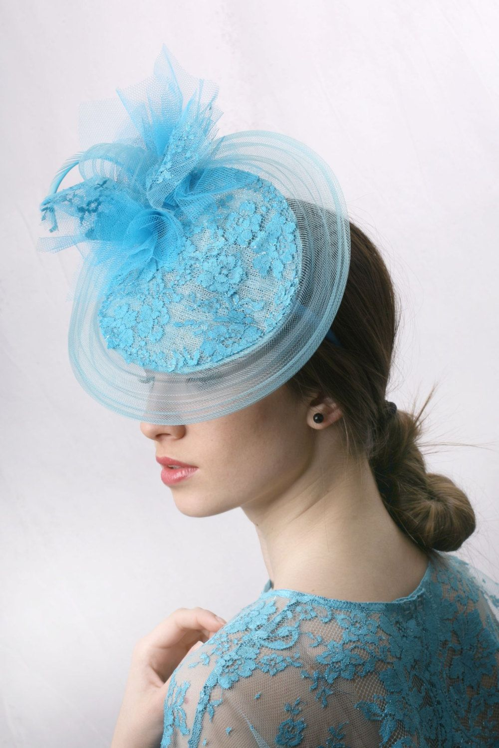 Turquoise lace Kentucky derby Hat 98041f27651