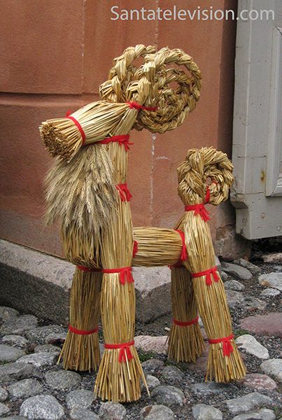 Finland Christmas Goat.Traditional Finnish Christmas Decorations In Turku