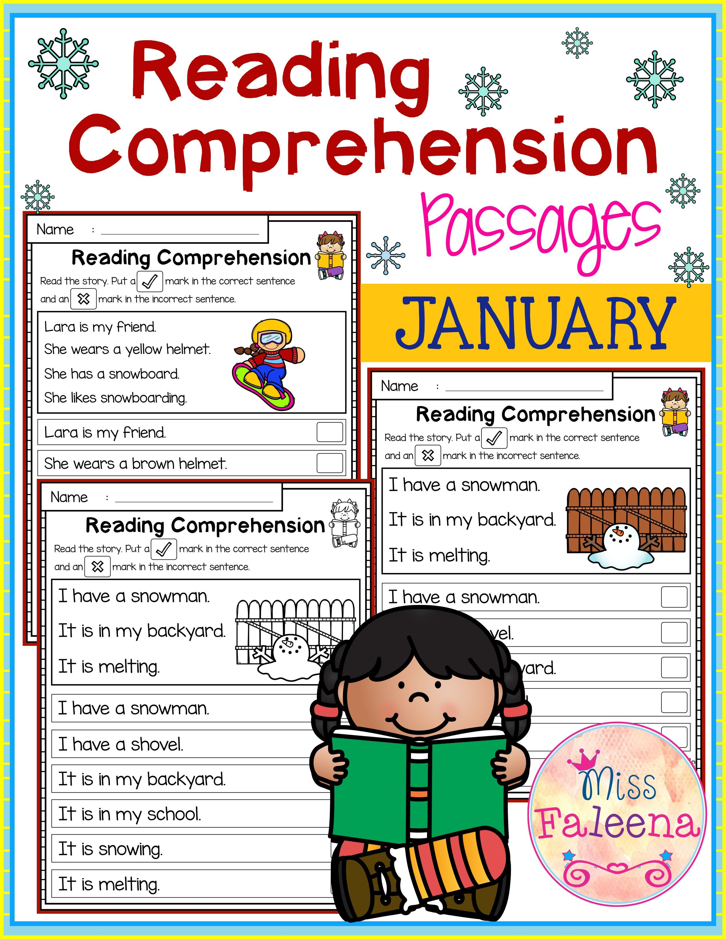 January Reading Comprehension Passages With Images
