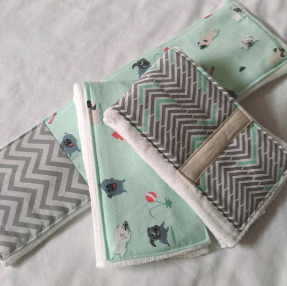 Pug and Chevron Burp Cloths Dogs Grey Chevron Pug by TheLaceTable
