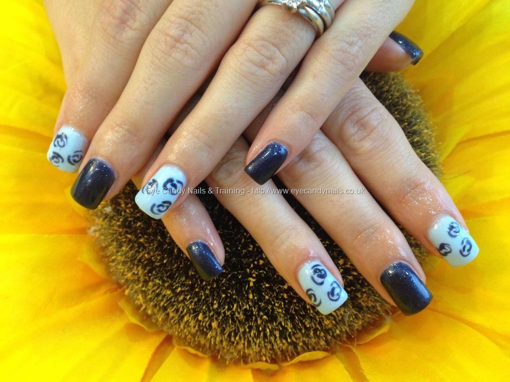 Acrylic nails with blue gelux gel polish ,light blue gelux gel ...