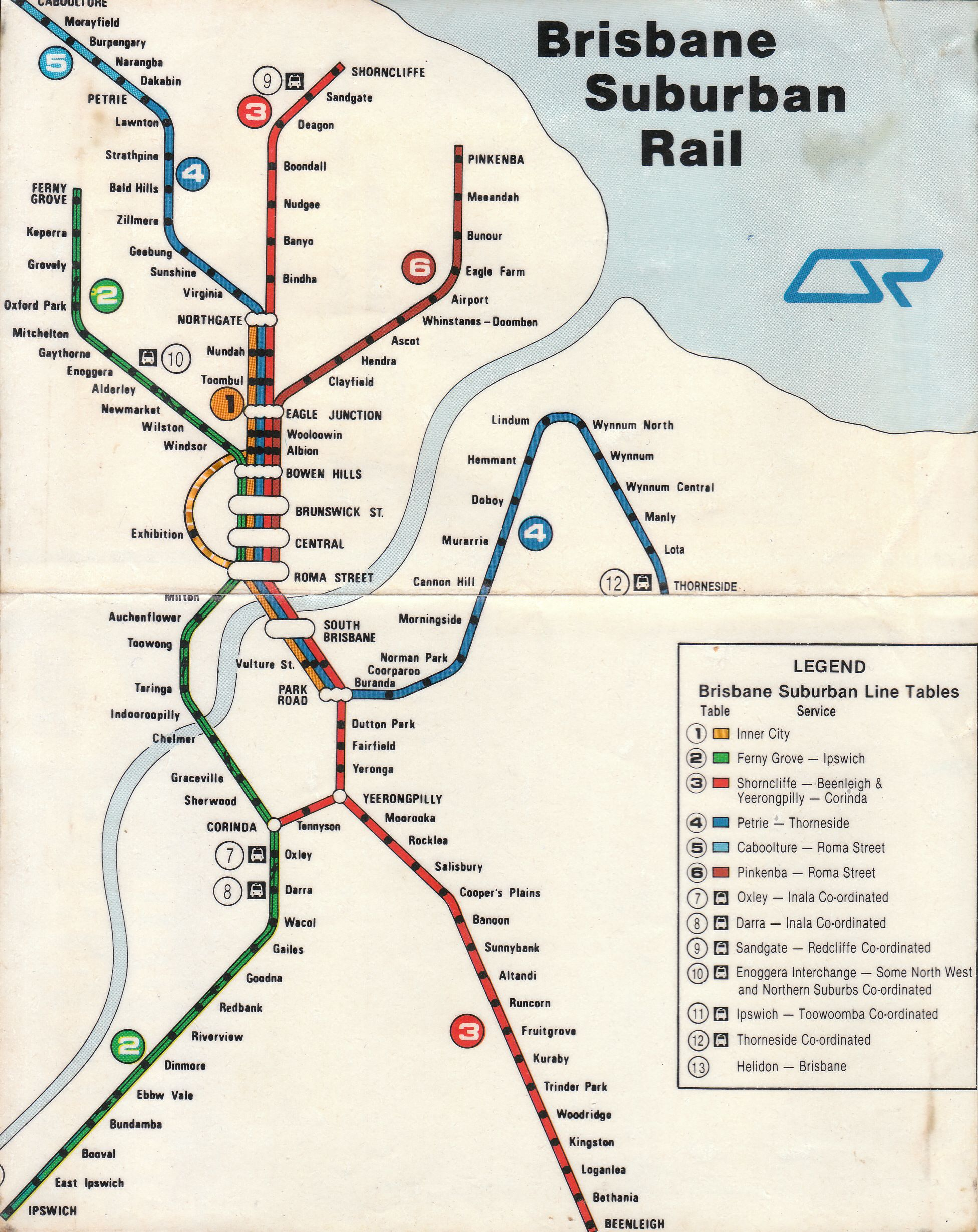 A map of the Brisbane Suburban Rail network - ca1979 | Transport ...