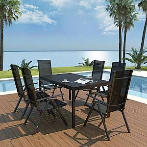Photo of VIDAXL 7 Piece Outdoor Dining Set Aluminium and WPC Black