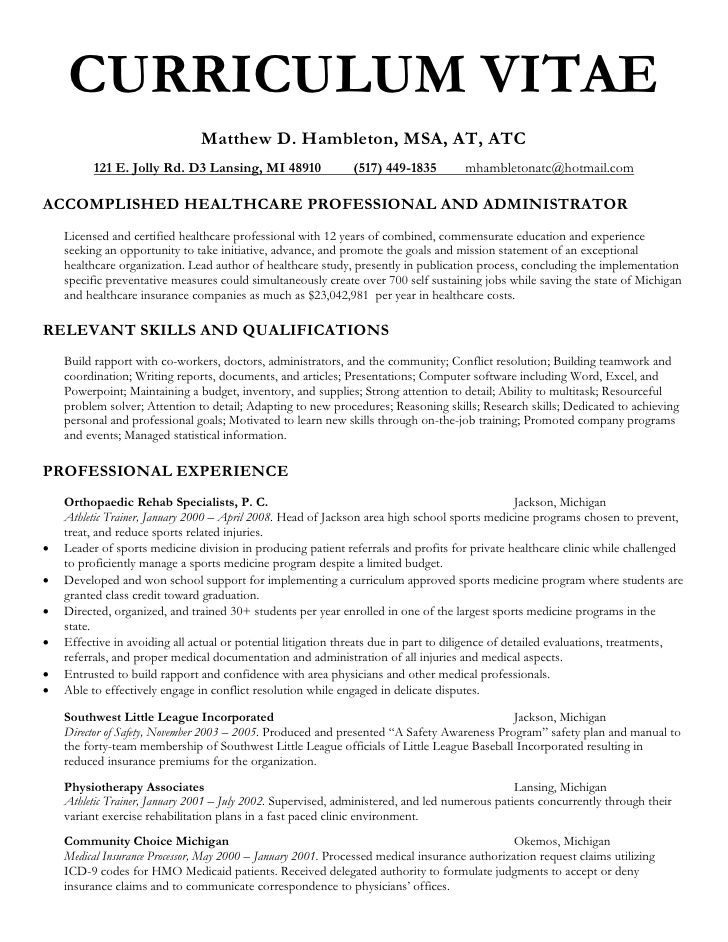 CURRICULUM VITAE Matthew D. Hambleton, MSA, AT, ATC 121 E. Jolly ...