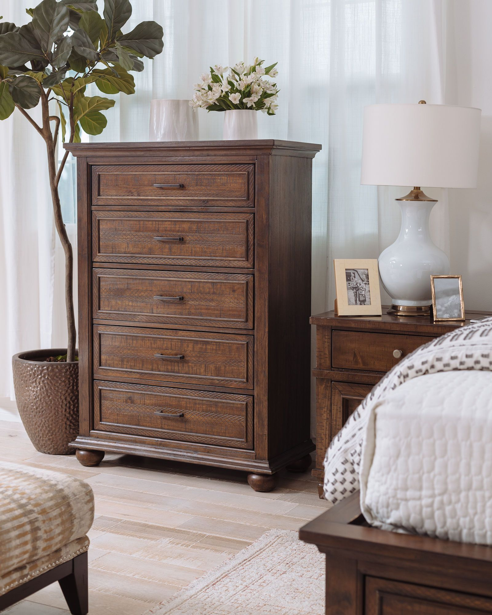 "53"" Transitional FiveDrawer Chest in Dark Brown Mathis"