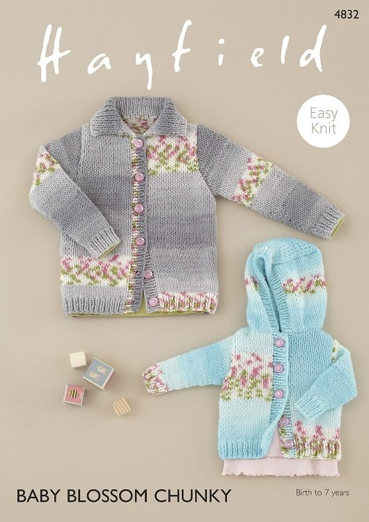 ea12619d1 Cardigans in Hayfield Baby Blossom Chunky 4832 Digital Pattern ...