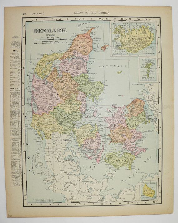 Vintage Map of Denmark 1901 Antique Map Iceland European Wall Art