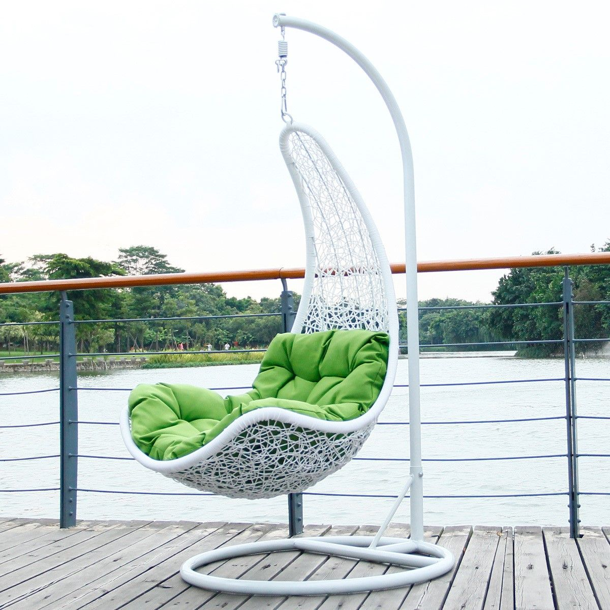 Classic Railing Balustrade Plus Beautiful White Wicker Hanging Chair With Green Pad Also Logs Outdoor Floor  sc 1 st  Pinterest & Classic Railing Balustrade Plus Beautiful White Wicker Hanging Chair ...