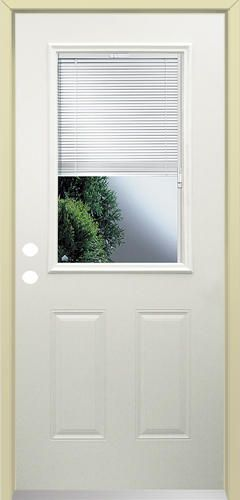 Mastercraft Primed Steel 1 2 Lite Prehung Exterior Door With Lift N Tilt Blinds At Menards Mastercraft Reg 32 Prehung Exterior Door Exterior Doors Blinds