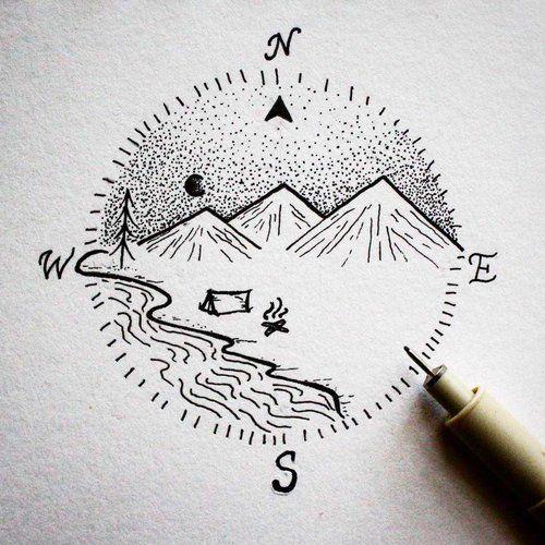Camping Compass Tattoo Jpg Sketch Book Cool Drawings Art Inspiration