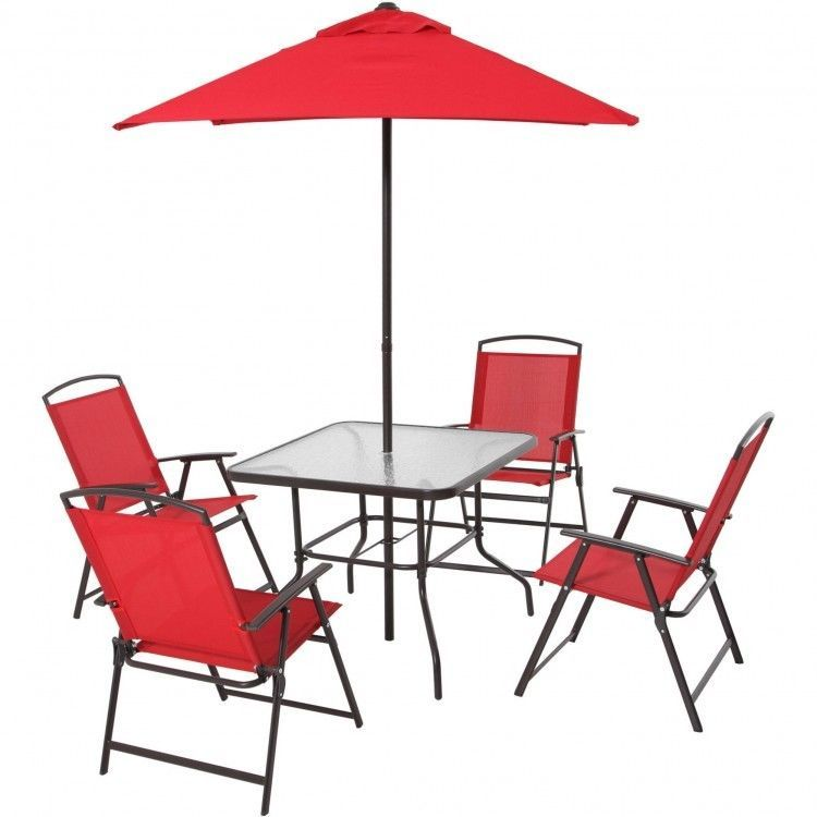 6 Piece Patio Set With Umbrella Gl Table 4 Folding Chairs Steel Frame Garden Mainstays