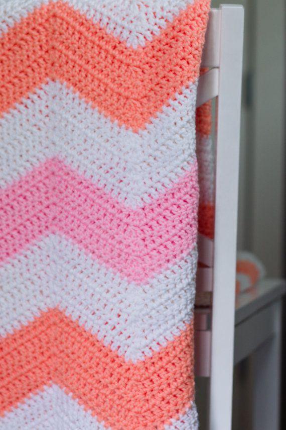 Bright White, Orange, and Pink Chevron Crochet Blanket, Baby/Toddler Blanket on Etsy, $75.00