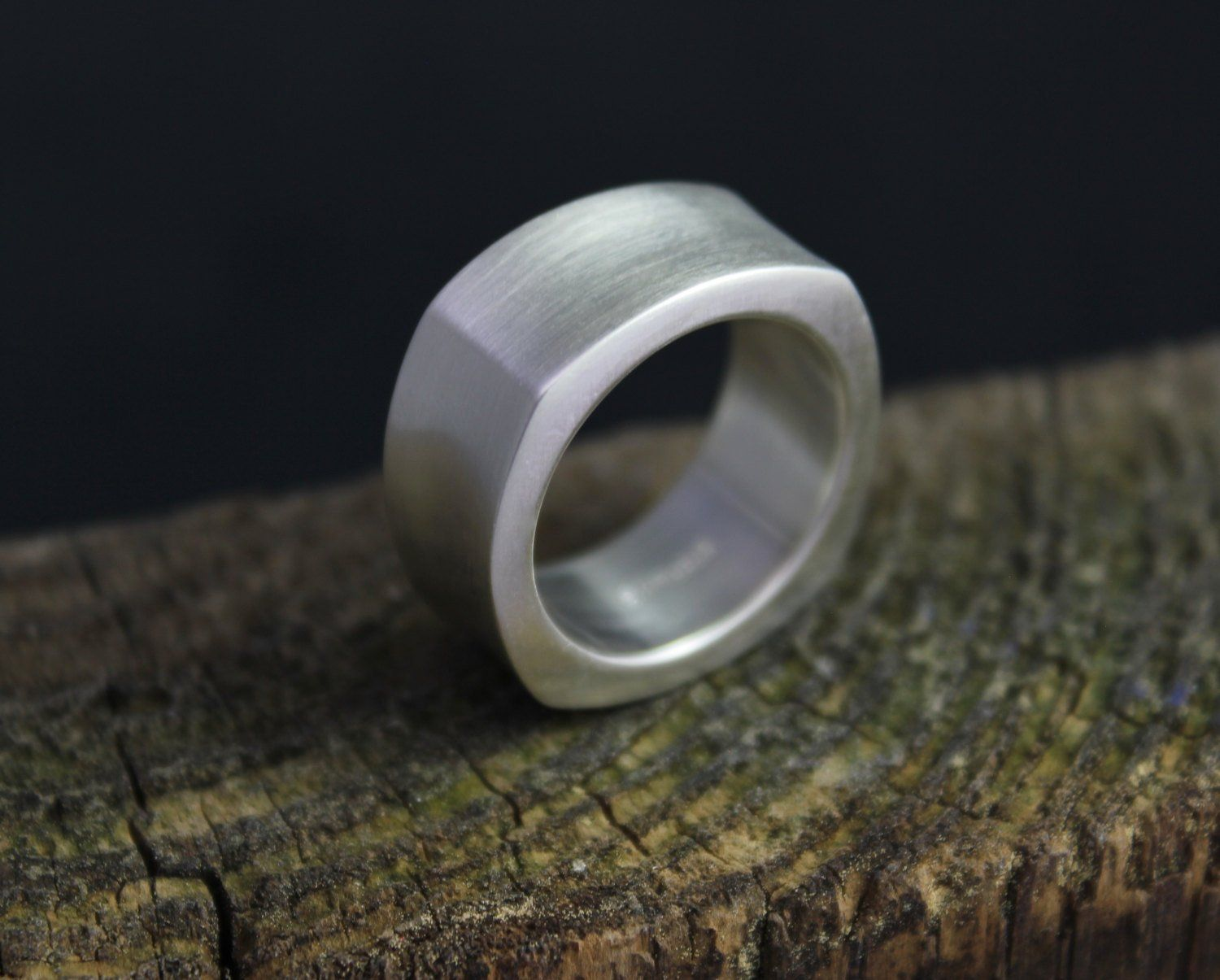 Concave Square Wedding Band 10mm Wide Band Thick Wedding Etsy Thick Wedding Bands Sterling Silver Bands Square Band