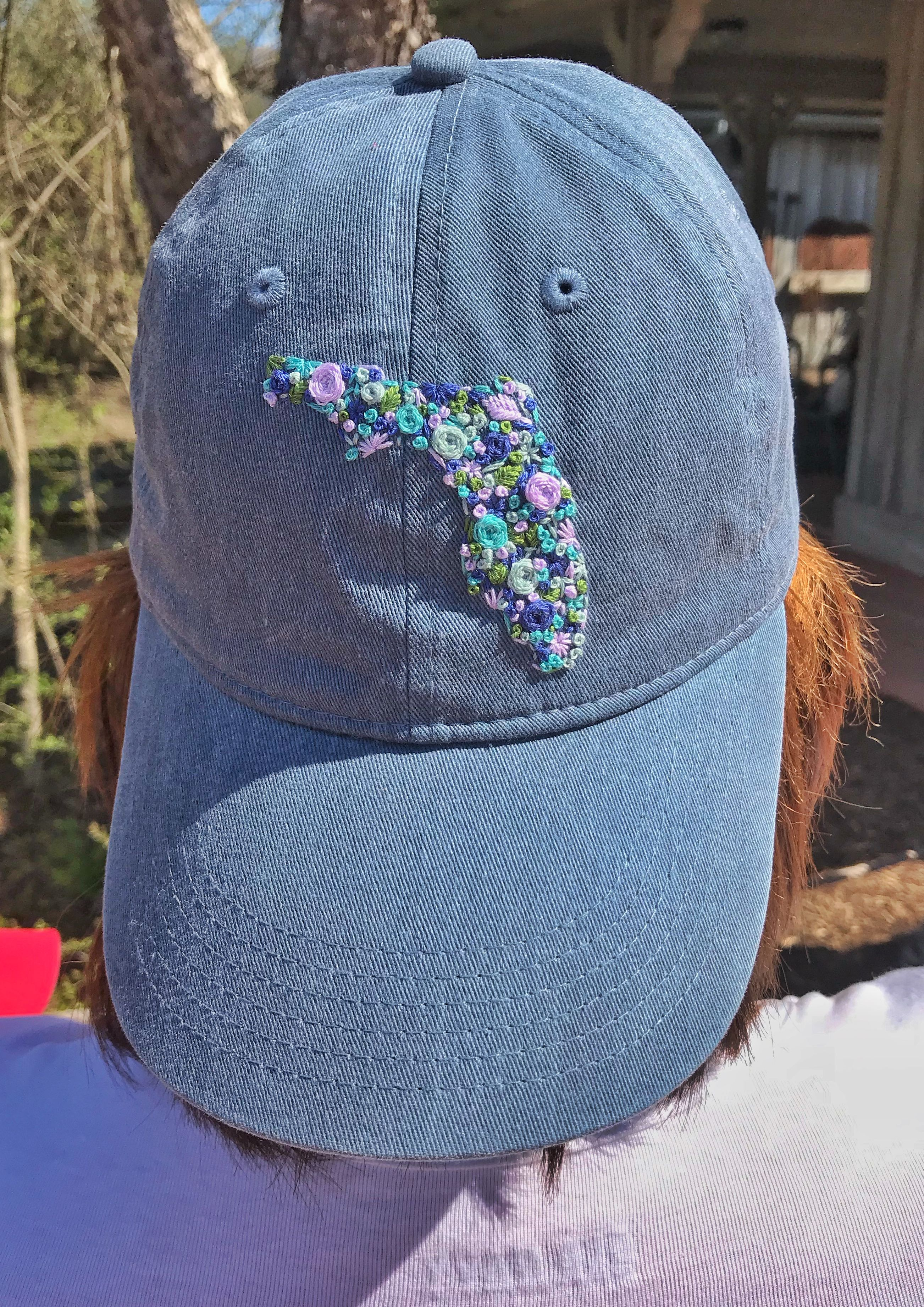 Florida Summer Hat Beach Hat Custom Hand Embroidery Women S Baseball Cap Beach Style Embroidered Hats Hat Embroidery Embroidered Clothes