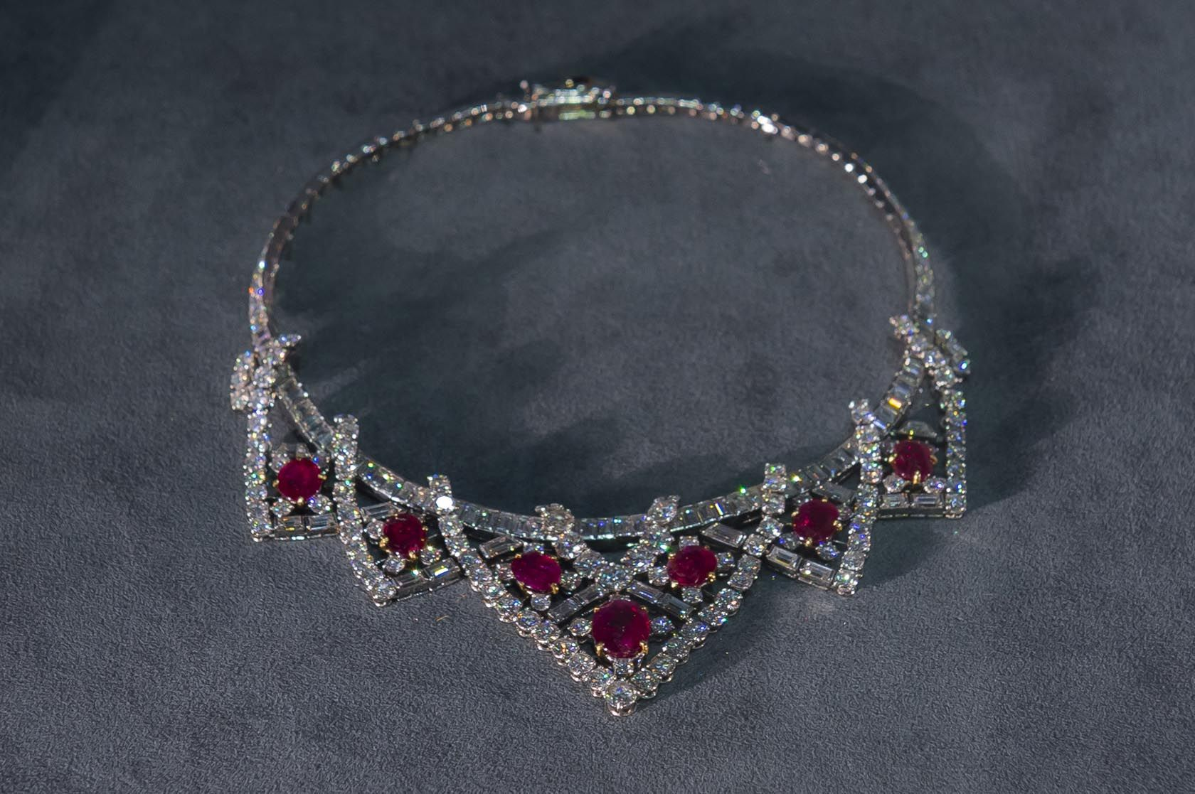 Cartier Ruby and Diamond Tiara Necklace (off frame), France (1953; made by Cartier; rubies, diamonds, platinum, gold).
