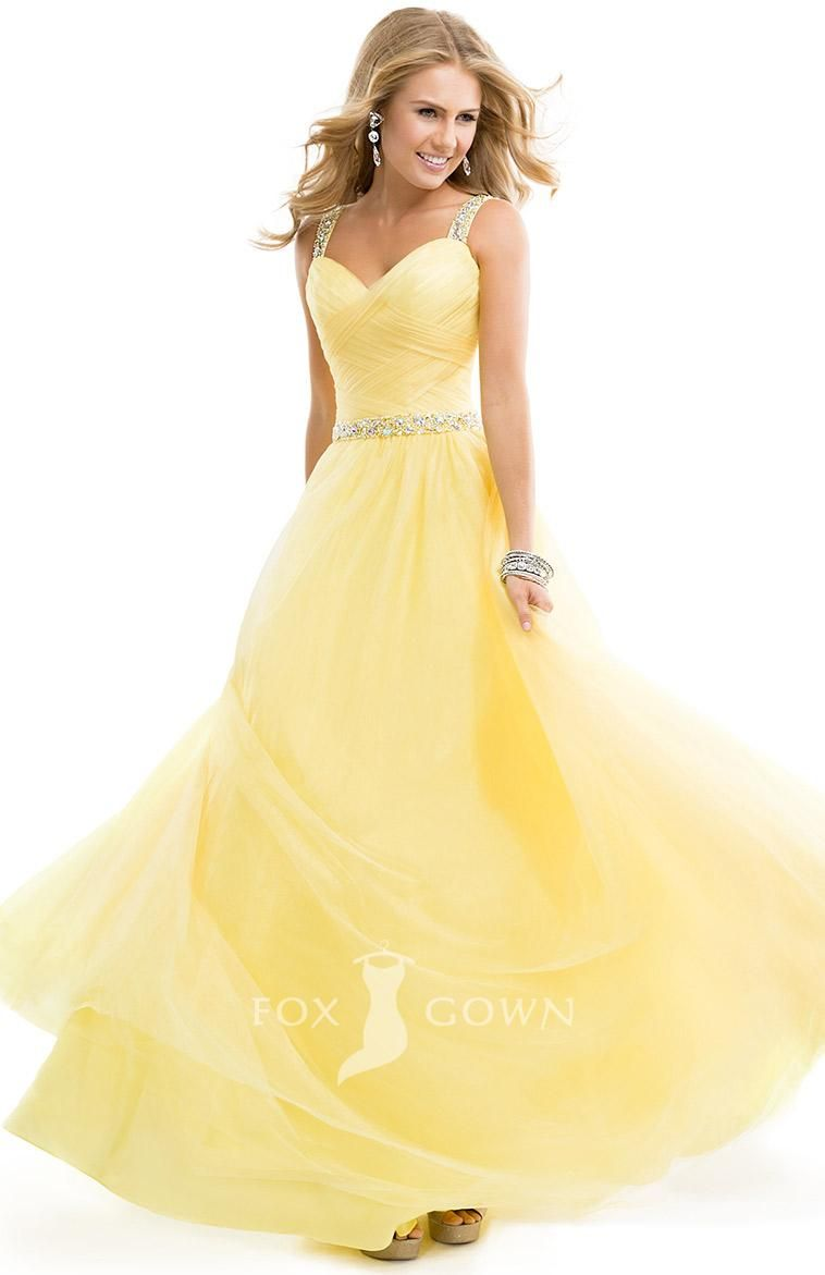 lemon sweetheart tulle ball gown prom dress with jewelled straps ...