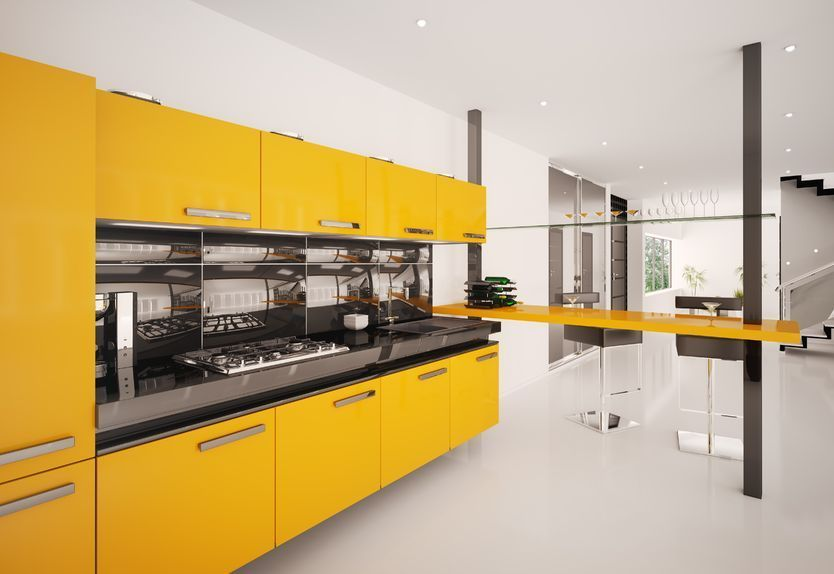 Fotografía de Cocina lineal amarillo mango | D KITCHEN | Pinterest