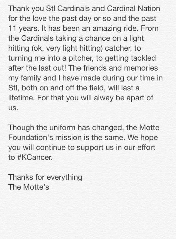 Cubs got a good one...Good luck Motte!