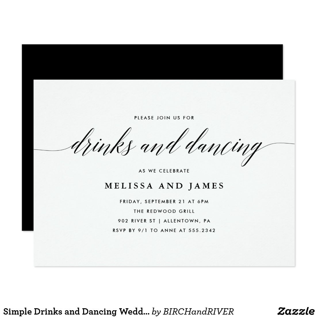 Simple Drinks And Dancing Wedding Invitation Zazzle Com Wedding Reception Invitation Wording Cocktail Wedding Reception Wedding Cocktail Invitation