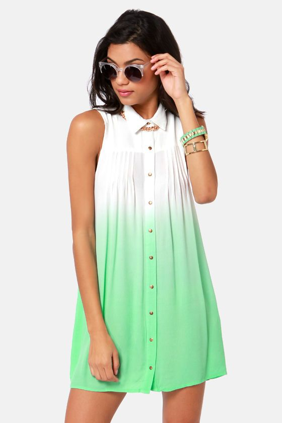 6a6b3c0b7b2 Mink Pink Great White Dress - Shirt Dress - Mint Green Dress -  87.00