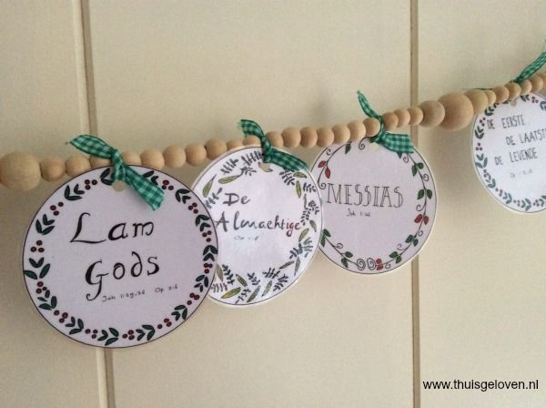 kerst knutsel slinger met de namen de heere jezus