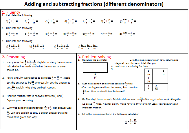 Fractions - mastery worksheets | Teaching | Pinterest