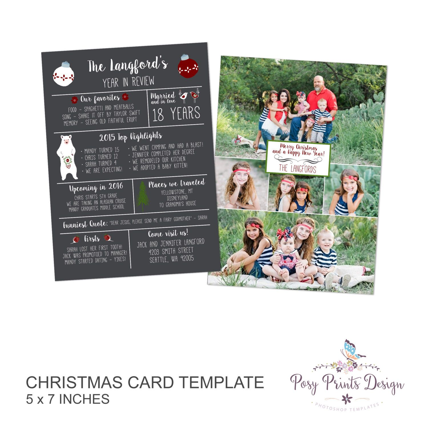 Year In Review Christmas Card Template 5x7 Photo Card Photoshop Template Instant Download Or Printable Christmas Card Template Cards Postcard Template