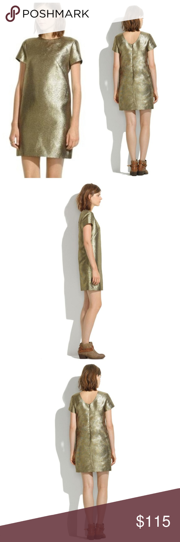 Madewell Gold Metallic Shimmer Shift Dress Green Mini Dress Shift Dress Striped Mini Dress [ 1740 x 580 Pixel ]