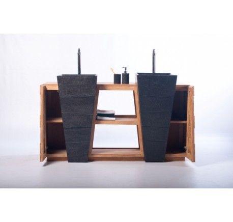 Meuble SENANDUNG Noir Salle de Bain Teck Massif - Mobilier de salle